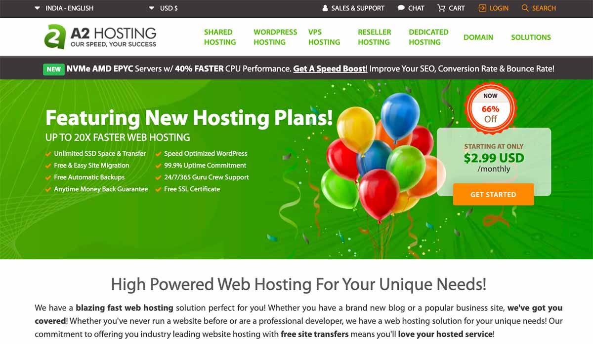 A2 Hosting HomePage