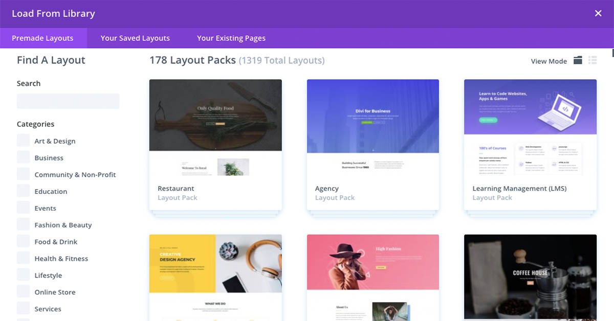 Divi Pre Made Layout Packs