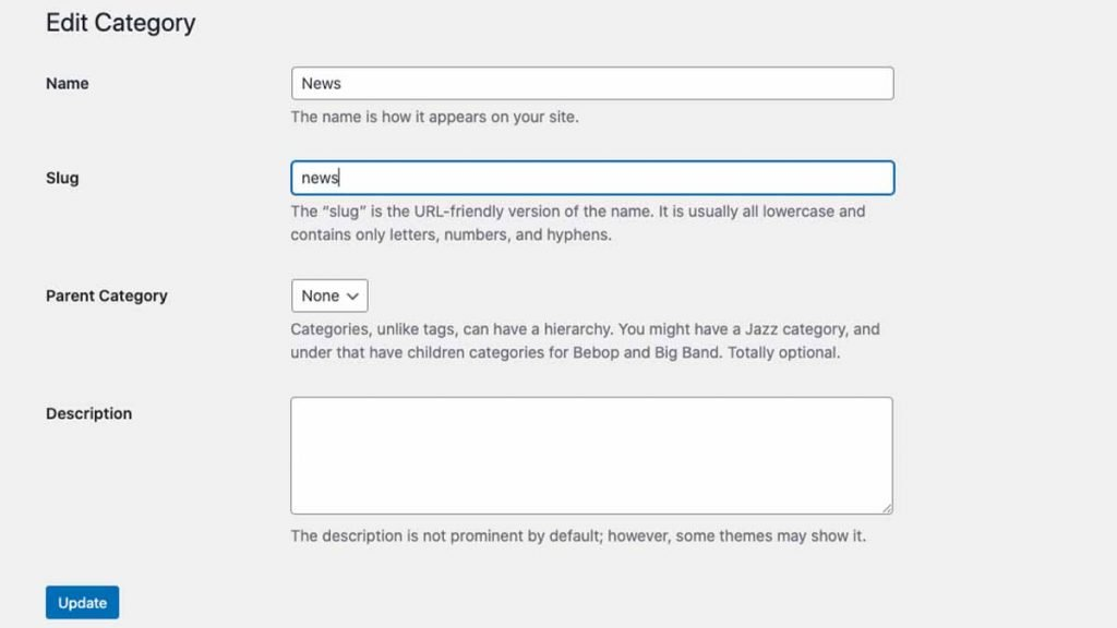 Edit Default Category WordPress