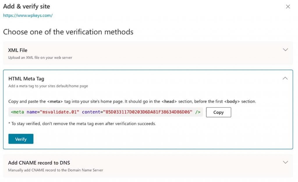 Verify Site Bing
